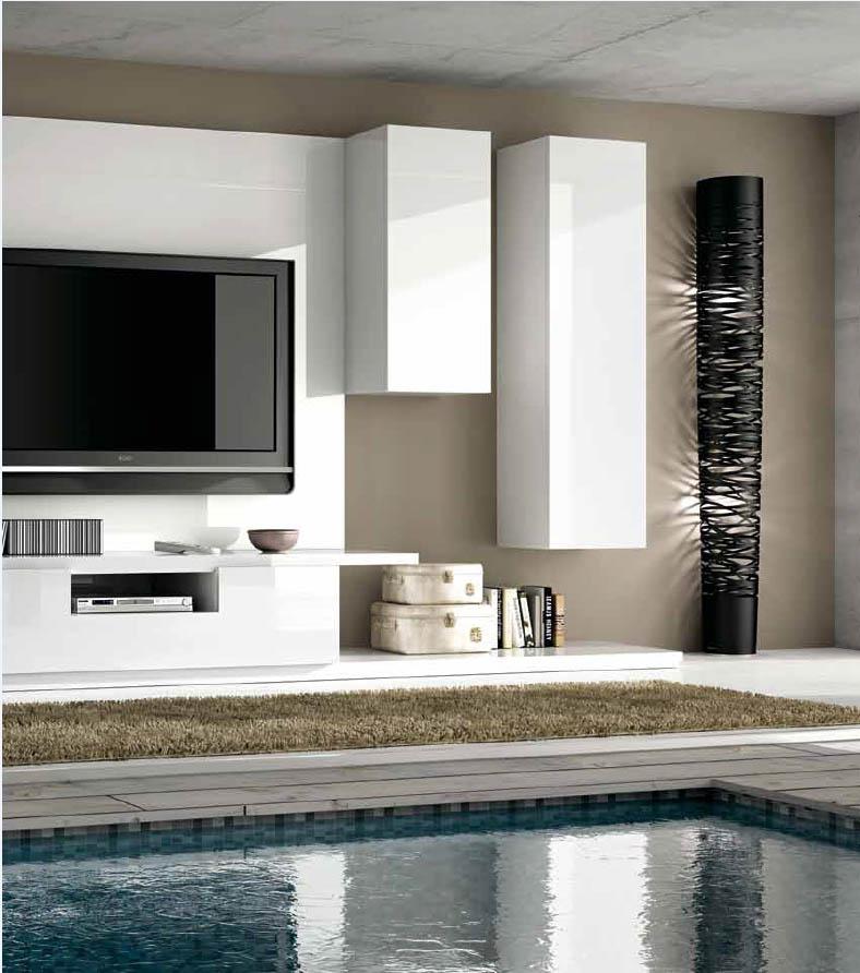 C mo decorar el sal n con muebles lacados villalba - Decoracion mueble tv ...