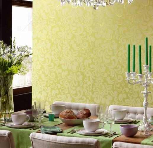 Comedor con papel pintado