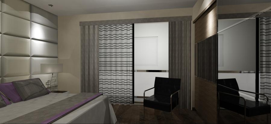 Cortina con dobles y galería tapizada (2) - Villalba Interiorismo