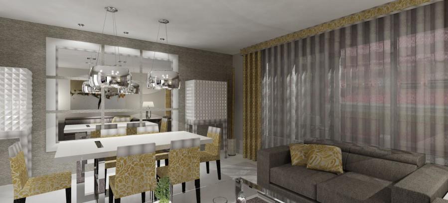 Cortina con dobles y galería tapizada - Villalba Interiorismo