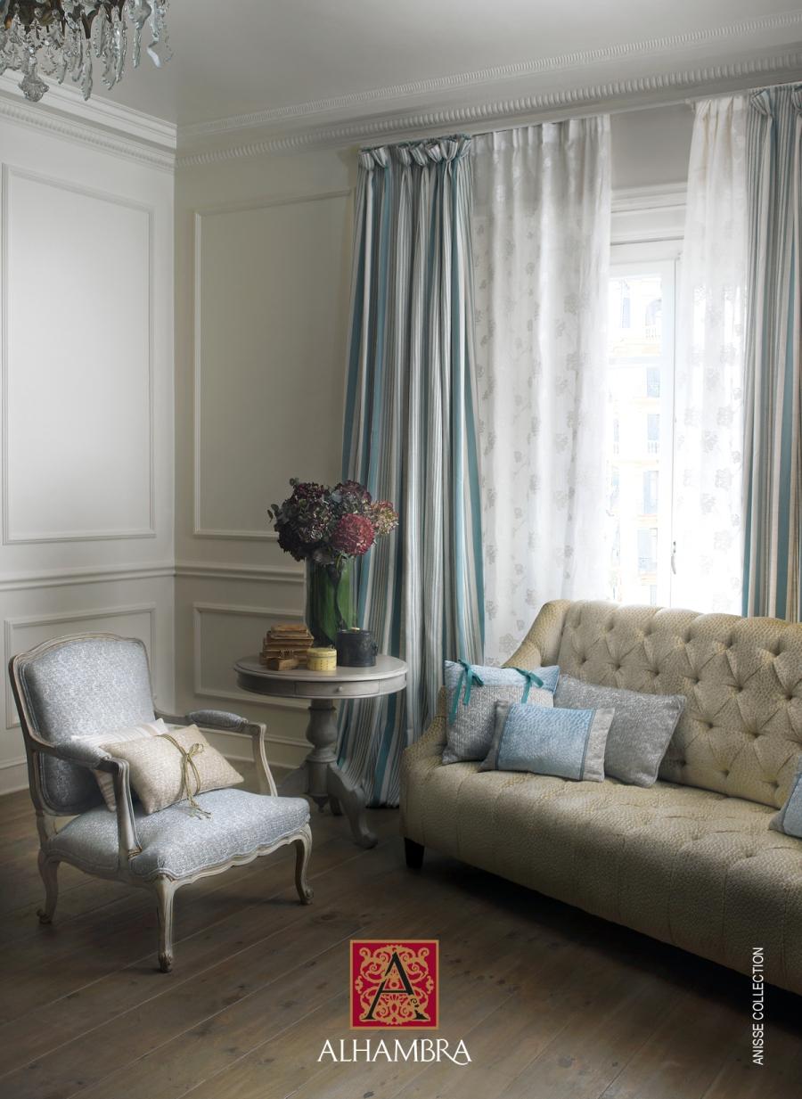 Tela rayas para cortinas colección Anisse de Alhambra - Villalba Interiorismo