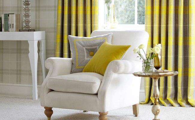 5 ideas para decorar en amarillo el sal n villalba for Cortinas para salon blanco y gris