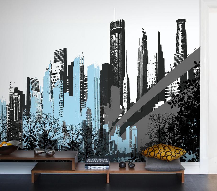 Papeles pintados urbanos villalba interiorismo for Papel para paredes salon