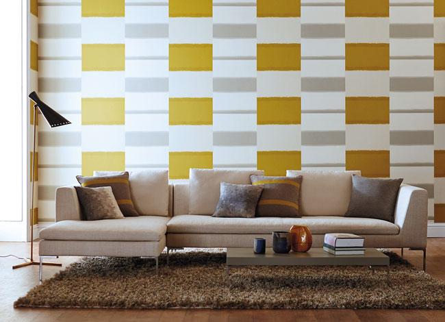 Papel pintado en amarillo - Villalba Interiorismo