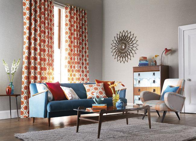 Salón con cortinas estampadas - Villalba Interiorismo