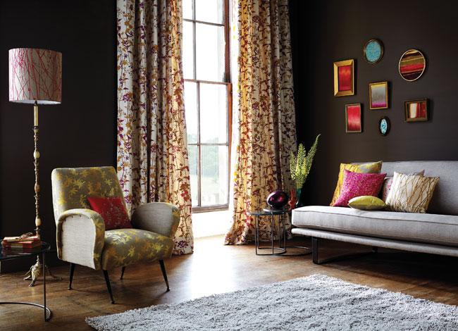 Salón con distintas telas estampadas (2) - Villalba Interiorismo