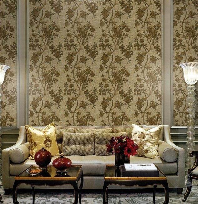 Salón simétrico con papel pintado de Roberto Cavalli - Villalba Interiorismo