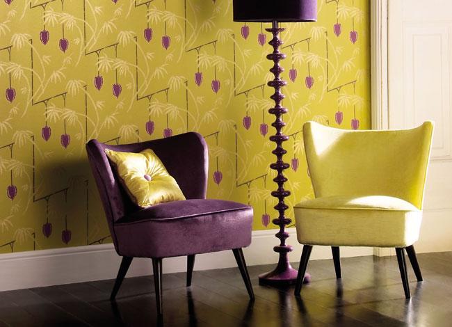 Combinación color amarillo y morado - Villalba Interiorismo