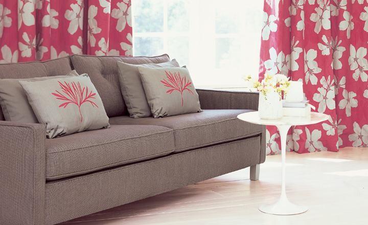 Dobles cortinas estampadas flores - Villalba Interiorismo