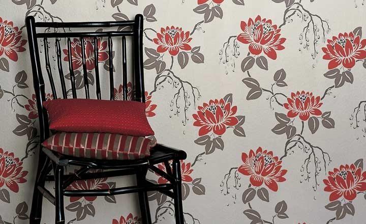 Papel estampado de flores - Villalba Interiorismo
