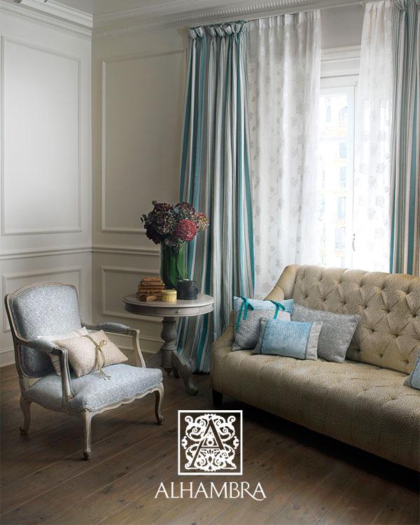 Visillo bordado con dobles - Villalba Interiorismo
