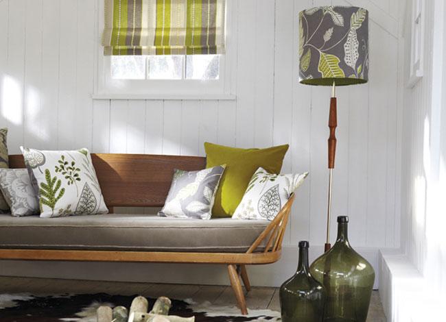 El color verde la naturaleza en casa villalba interiorismo - Cojines de colores ...
