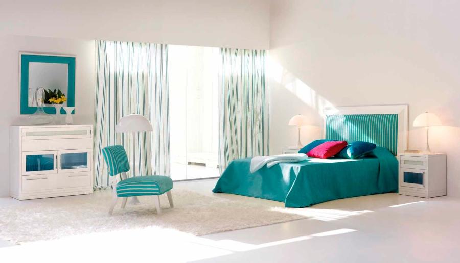 Dormitorio turquesa - Villalba Interiorismo