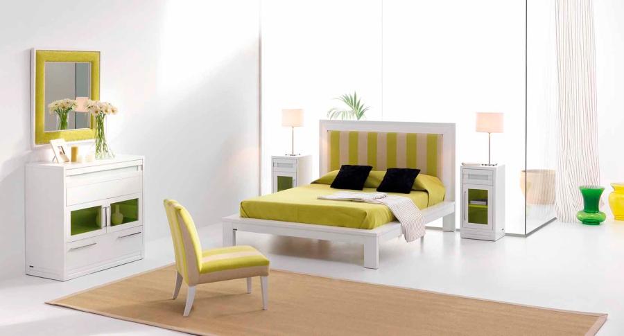 Habitación con detalles en verde - Villalba Interiorismo