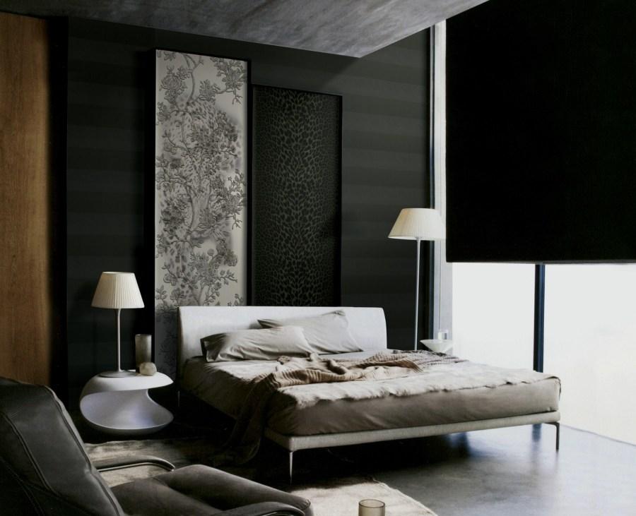Habitación en blanco, gris y negro -. Villalba Interiorismo