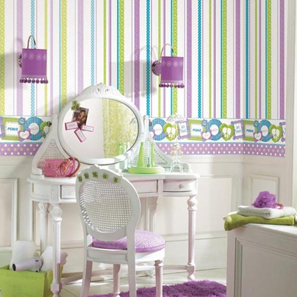Papeles pintados y stickers para habitaciones de ni os - Decoracion con papel pintado y pintura ...