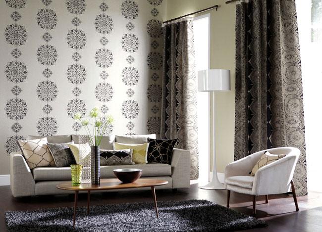 Renueva el sal n con textiles villalba interiorismo for Panel japones blanco y gris