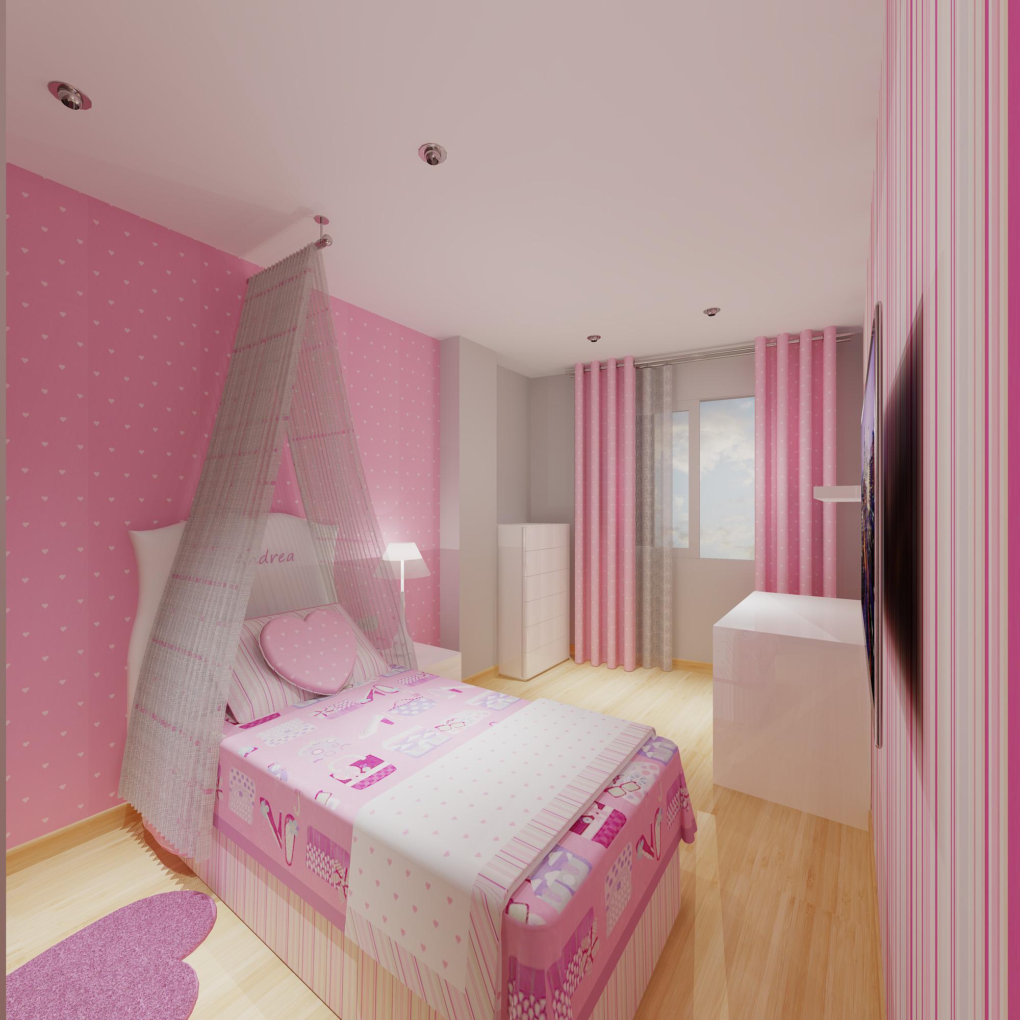 Un proyecto de habitaci n de ni as muy rom ntico - Dibujos para habitacion nina ...