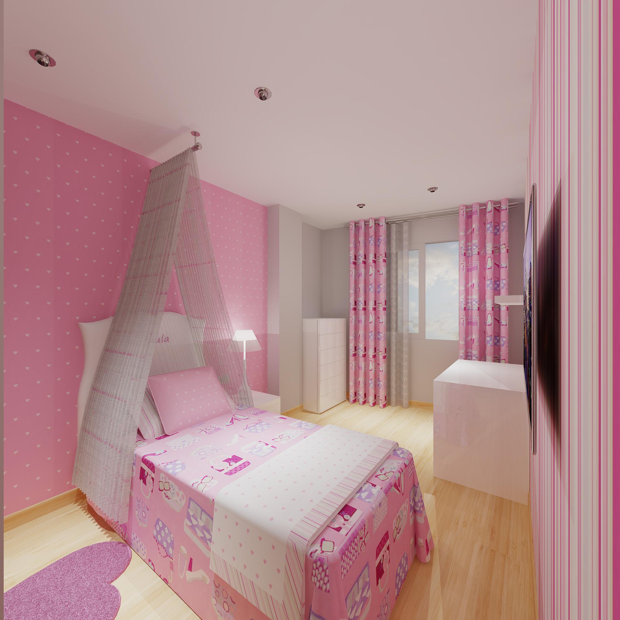 Un proyecto de habitaci n de ni as muy rom ntico villalba interiorismo - Dosel para cama nina ...