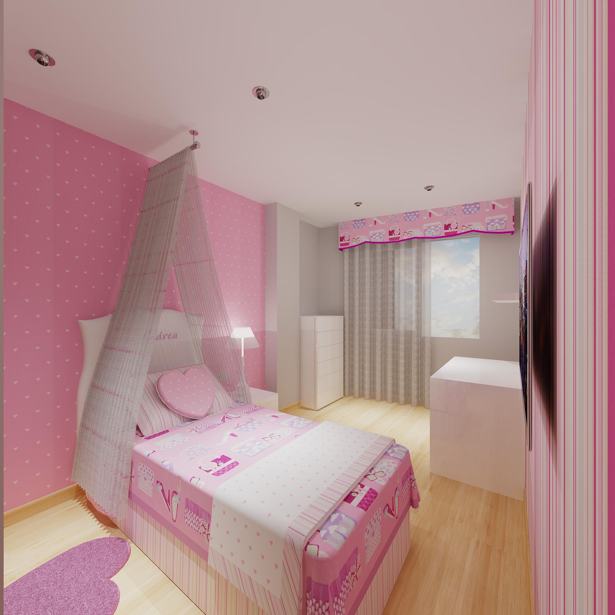 Un proyecto de habitaci n de ni as muy rom ntico for Decoracion sencilla habitacion nina