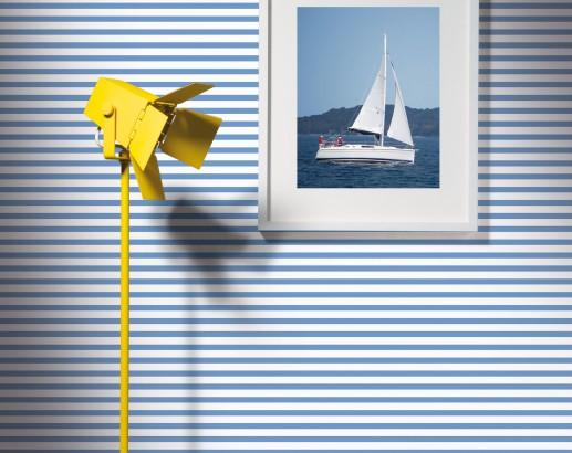 Papel pintado a rayas estilo marinero - Villalba Interiorismo