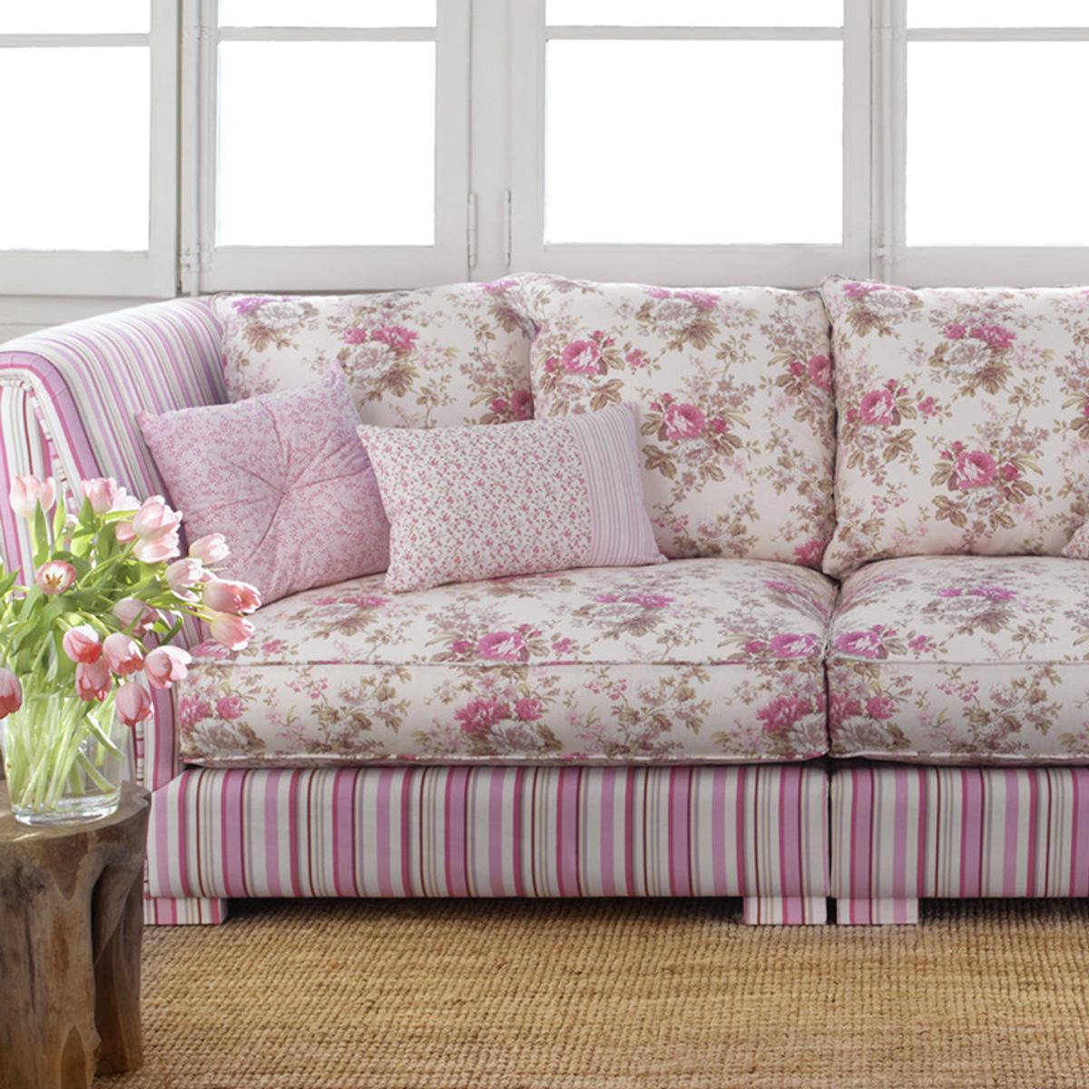 Ambientes con telas de flores y en rosa villalba - Telas para sofa ...