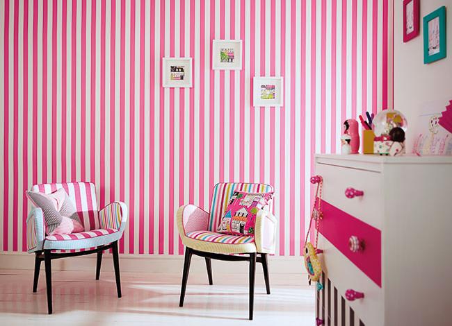 Papel pintado a rayas habitación niñas - Villalba Interiorismo