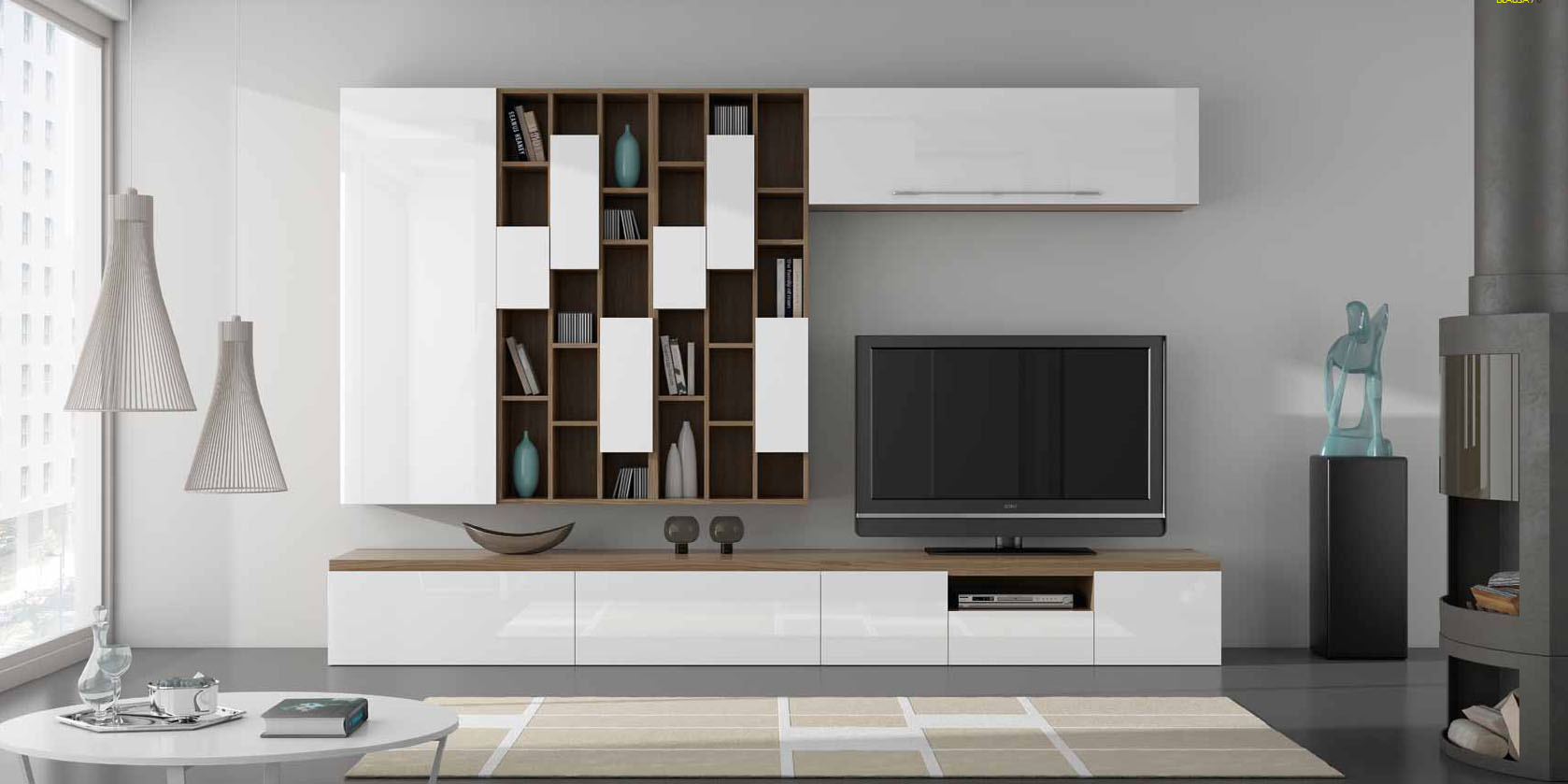 Salones con muebles lacados en blanco y madera villalba for Mueble salon blanco y nogal