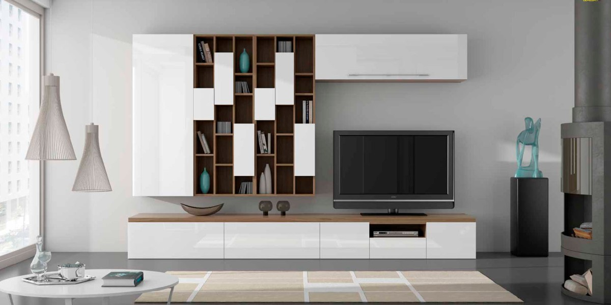 Salones con muebles lacados en blanco y madera villalba - Muebles lacados en blanco brillo ...