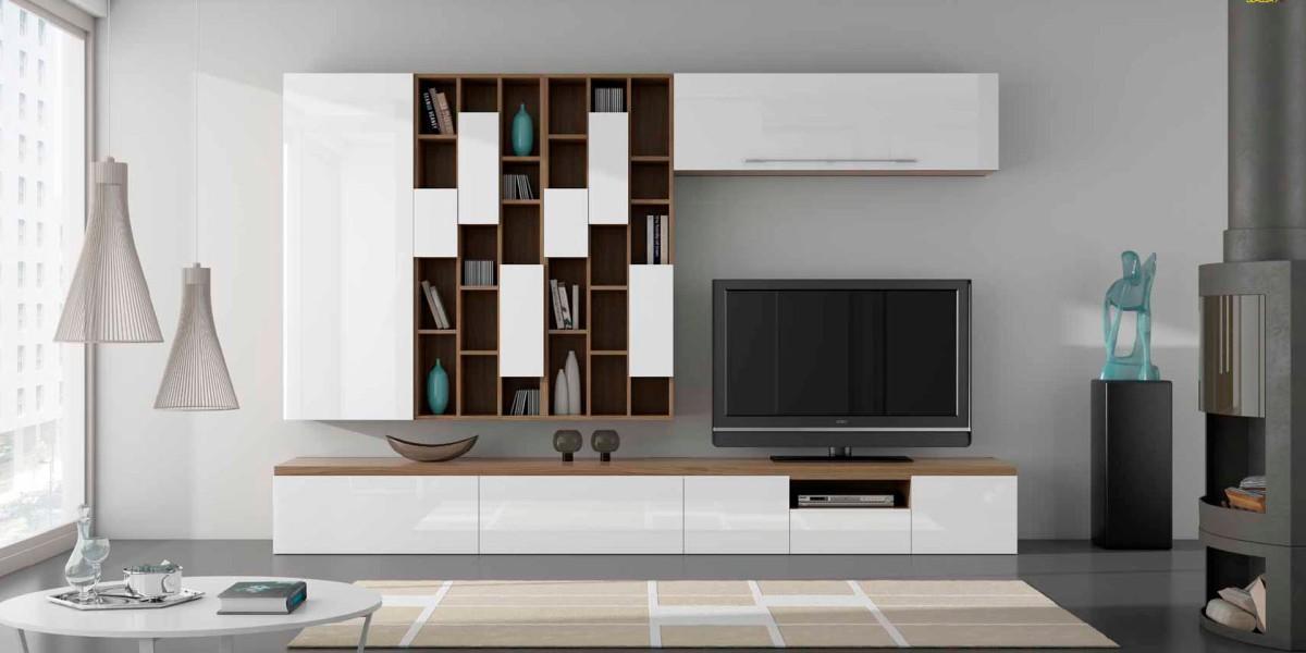 Salones con muebles lacados en blanco y madera