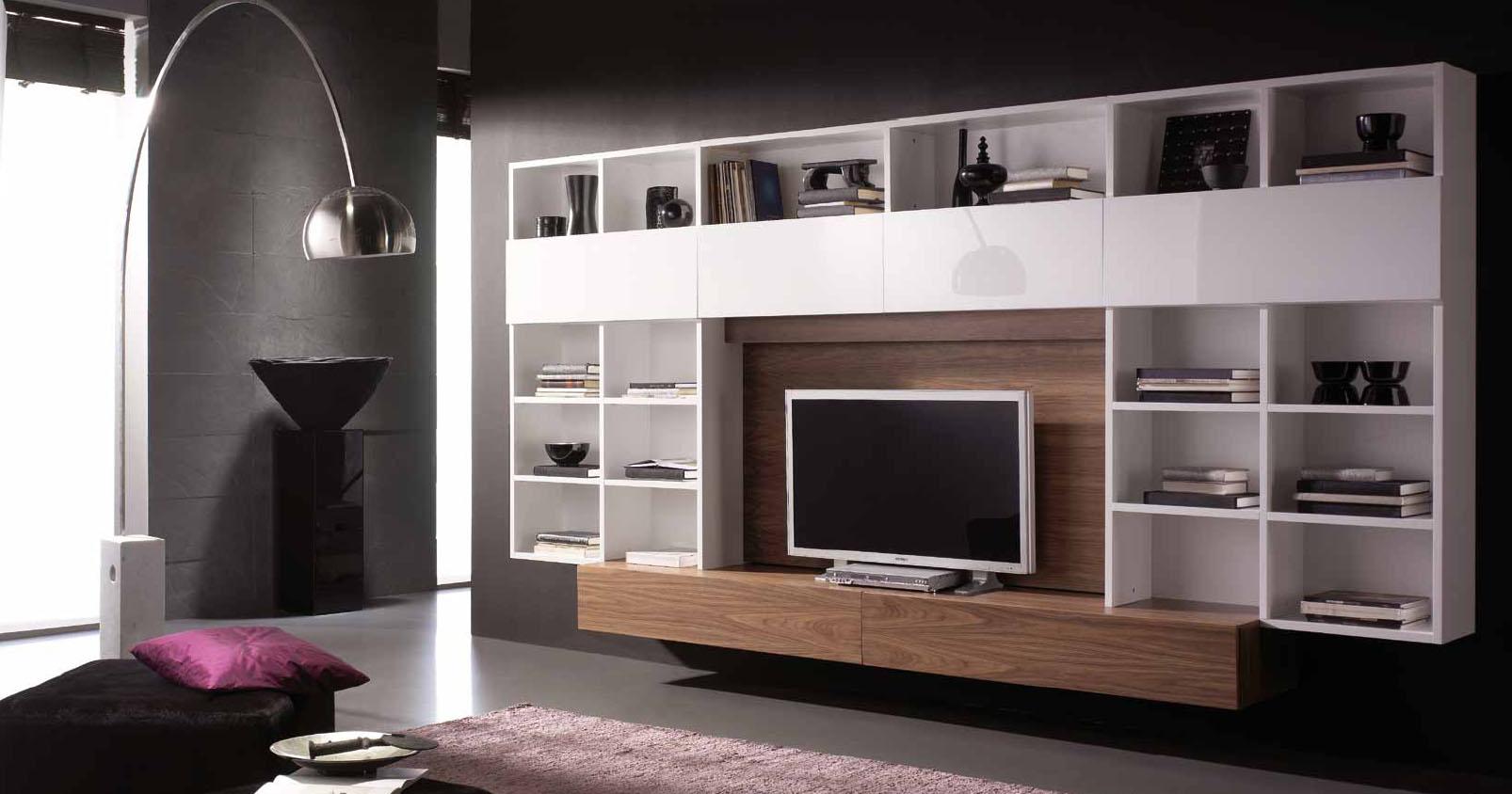 salones con muebles lacados en blanco y madera villalba