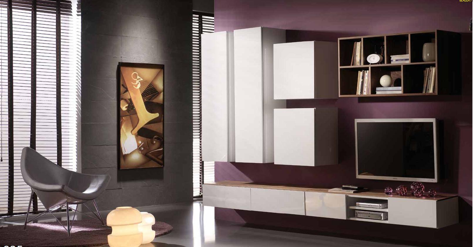 Salones con muebles lacados en blanco y madera villalba - Interiorismo salones ...