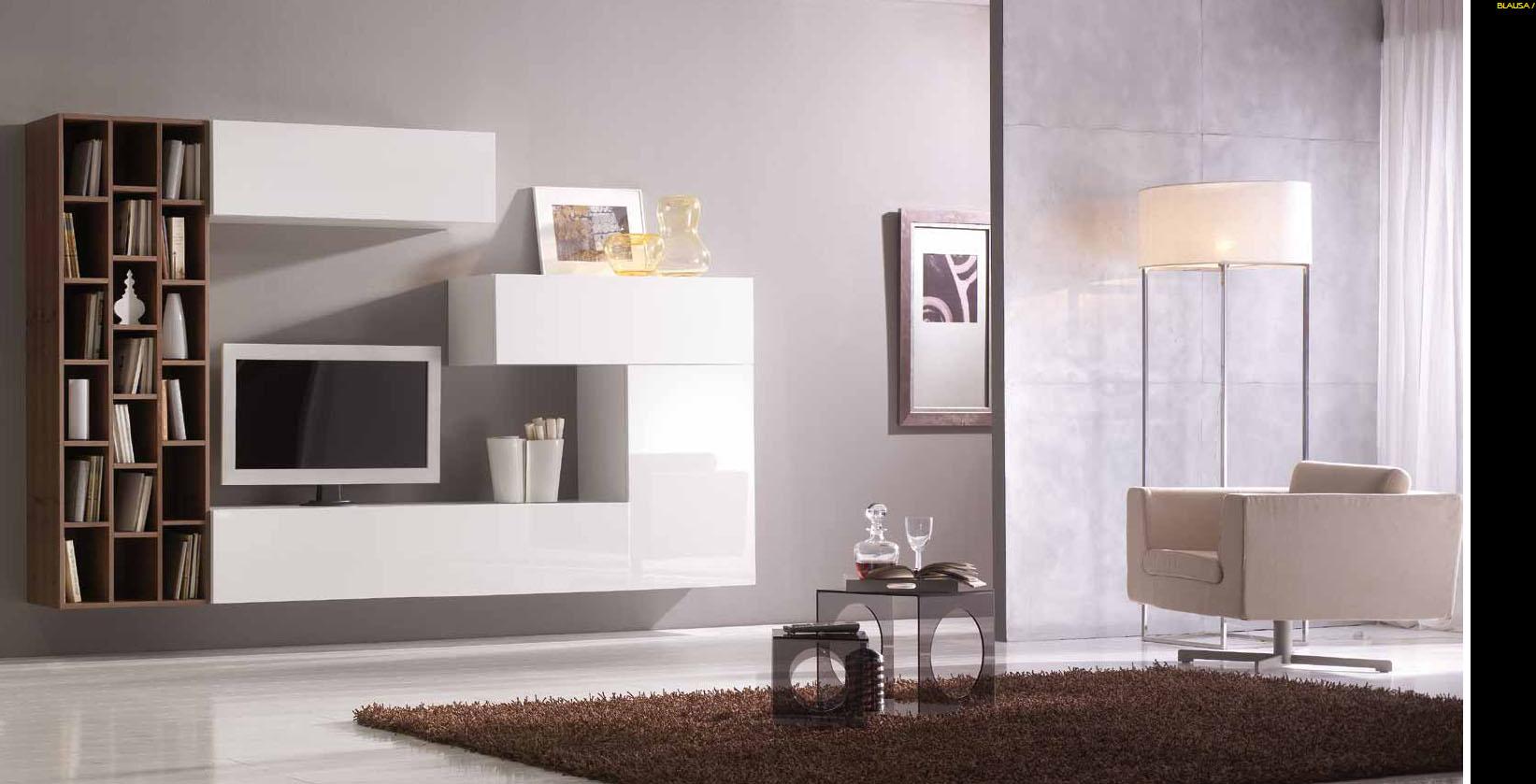 Salones con muebles lacados en blanco y madera villalba - Villalba interiorismo ...