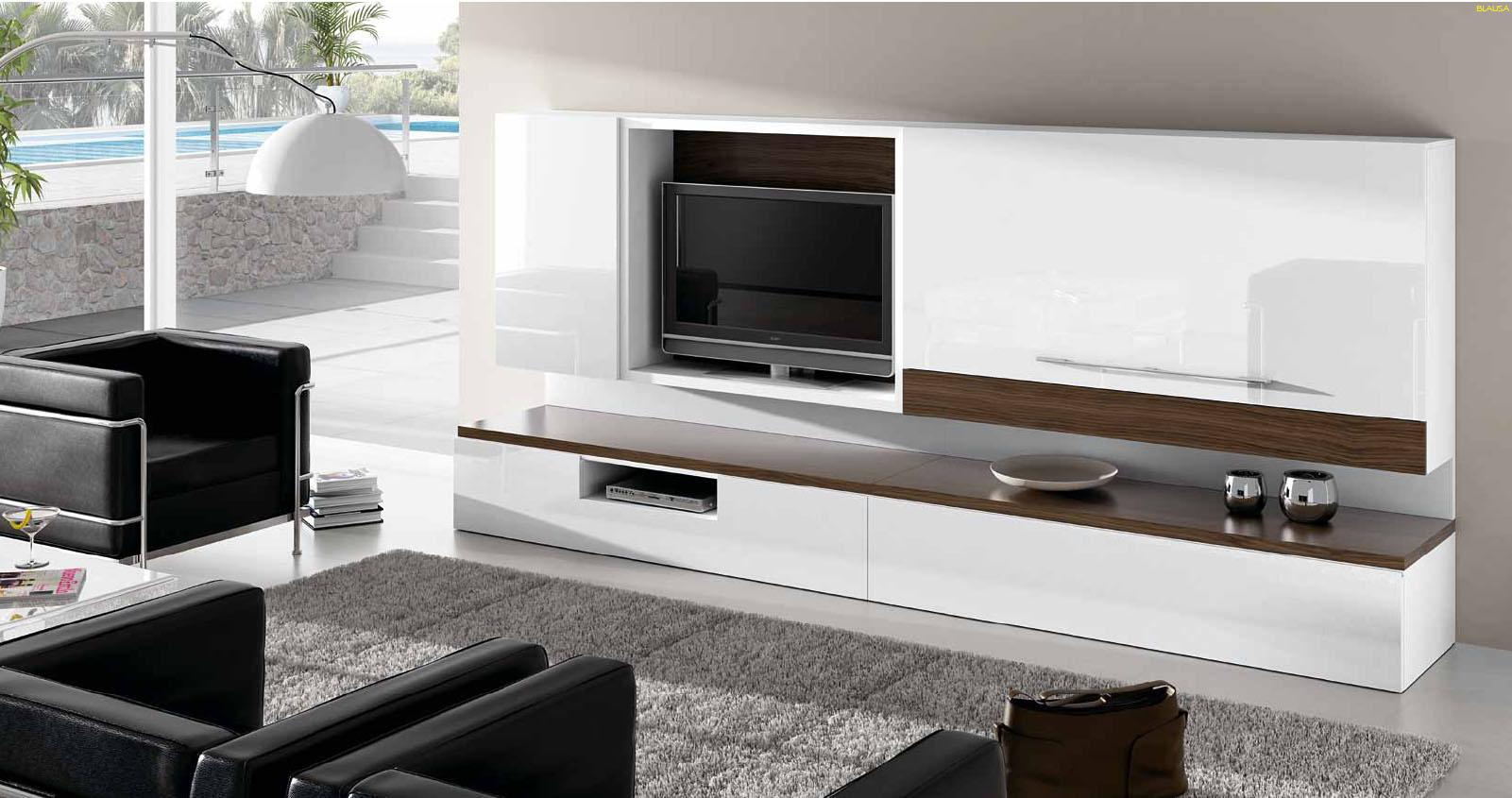 Salones con muebles lacados en blanco y madera villalba for Muebles de salon modernos blancos