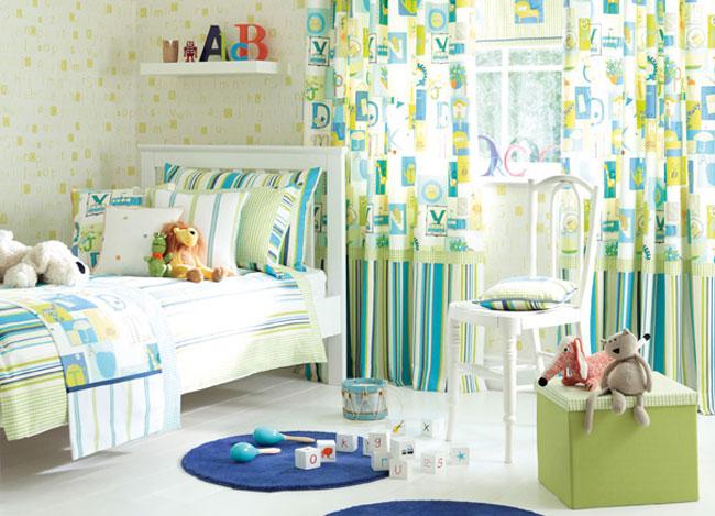 Habitación de niños  con telas de rayas - Villalba Interiorismo (3)