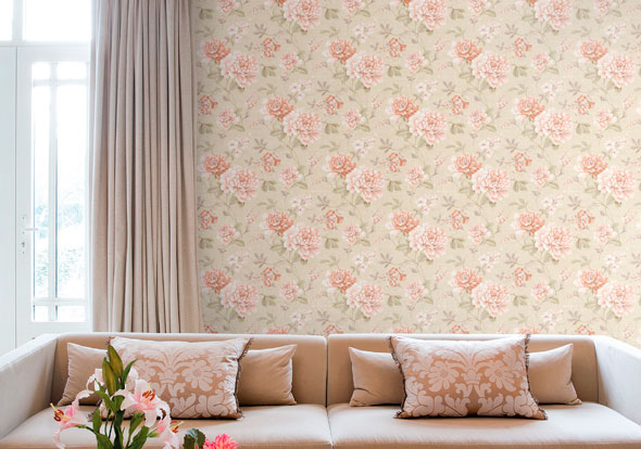 Papeles pintados con aire vintage villalba interiorismo - Salones con papel pintado ...