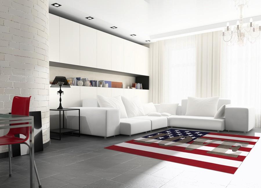 Salón con alfombra de color - Villalba Interiorismo