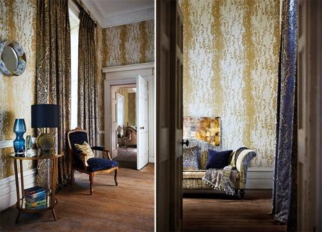 Decoración en azul y dorado - Villalba Interiorismo