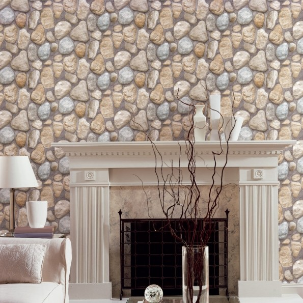 Papeles pintados muy naturales villalba interiorismo - Pared interior de piedra ...