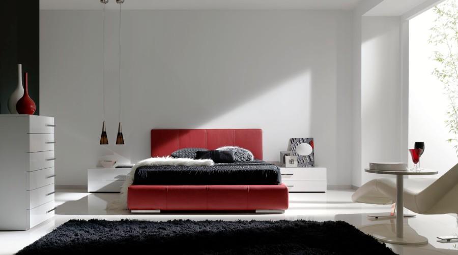 Dormitorio blanco y rojo - Villalba Interiorismo