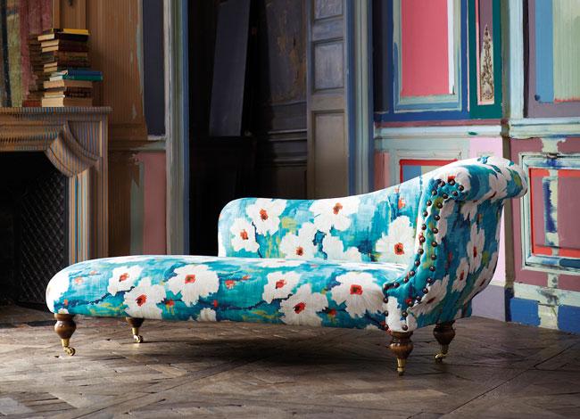 Chaise longue estampado de flores - Villalba Interiorismo