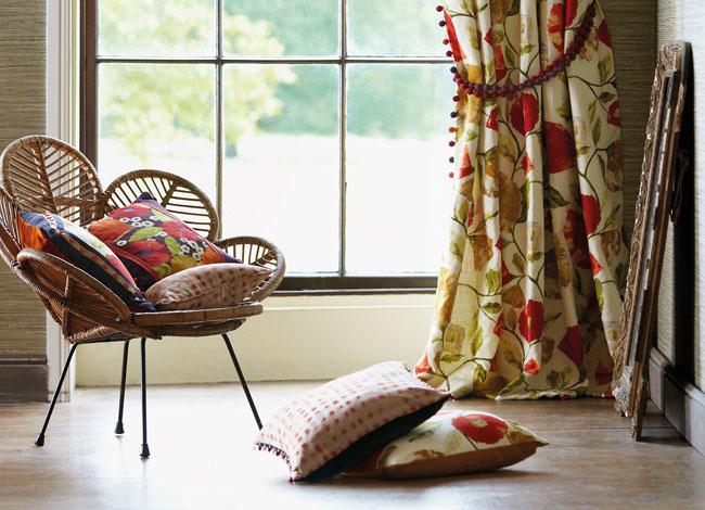 Doble cortinas estampada de flores - Villalba Interiorismo