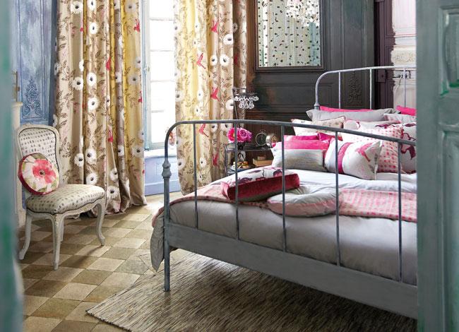 Dobles cortinas estampadas de flores - Villalba Interiorismo (2)