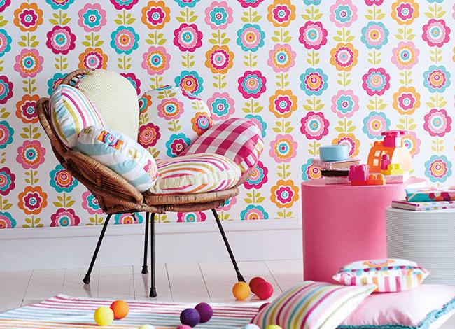 Papel pintado de flores - Villalba Interiorismo