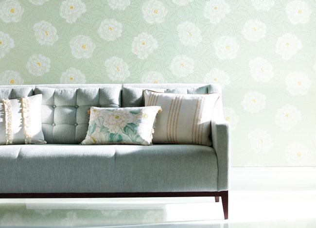 Papel pintado estampado de flores - Villalba Interiorismo