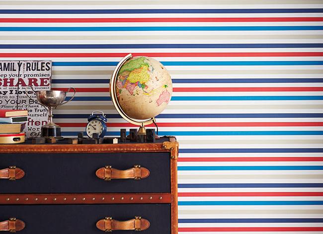 Papel pintado rayas para niños - Villalba Interiorismo