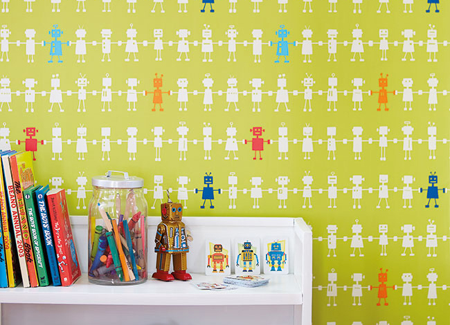 Papel pintado robots para niños - Villalba Interiorismo