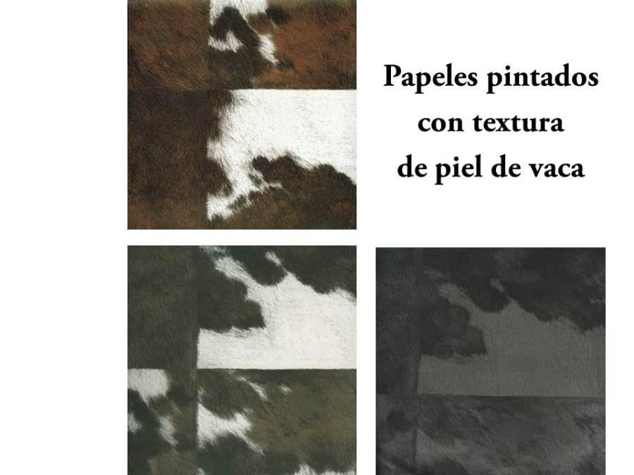 Papeles pintados con textura de piel de vaca - Villalba Interiorismo
