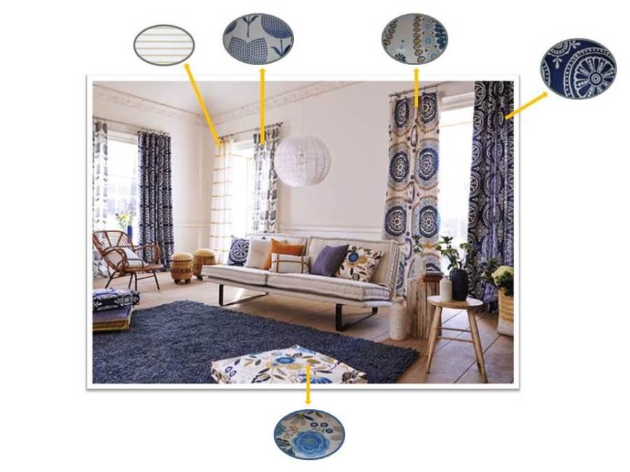 Salón con telas  de Harlequin (2)  - Villalba Interiorismo