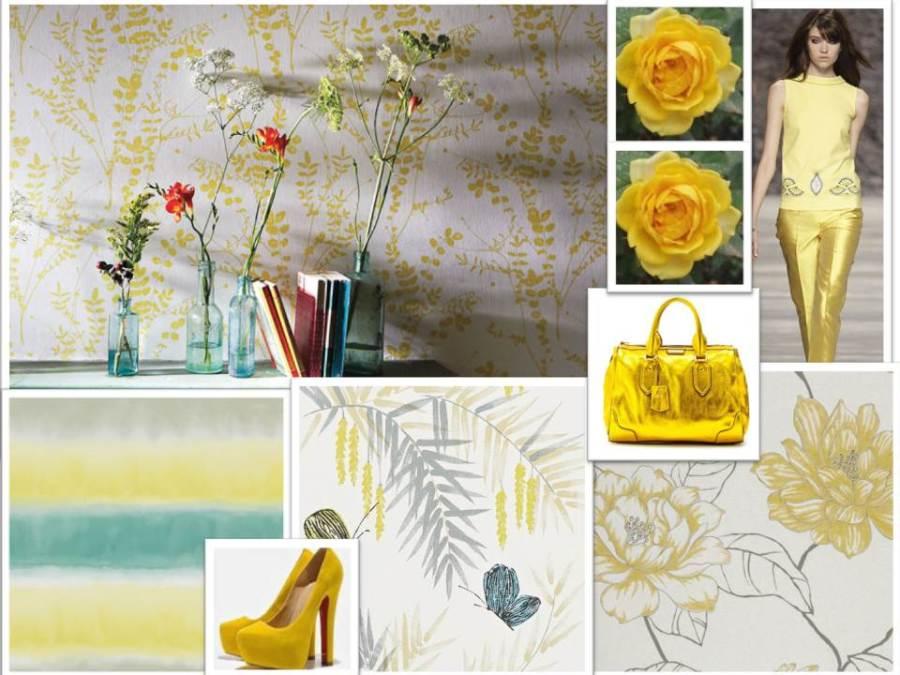 Papeles pintados en amarillo - Villalba Interiorismo